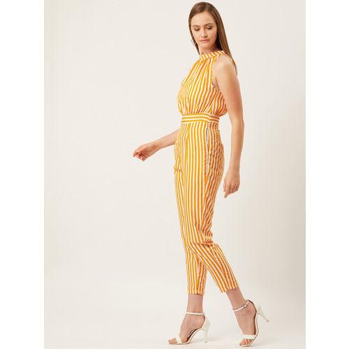 Alsace Lorraine Paris Women Mustard Yellow & Off-White Striped Cropped Basic Jumpsuit