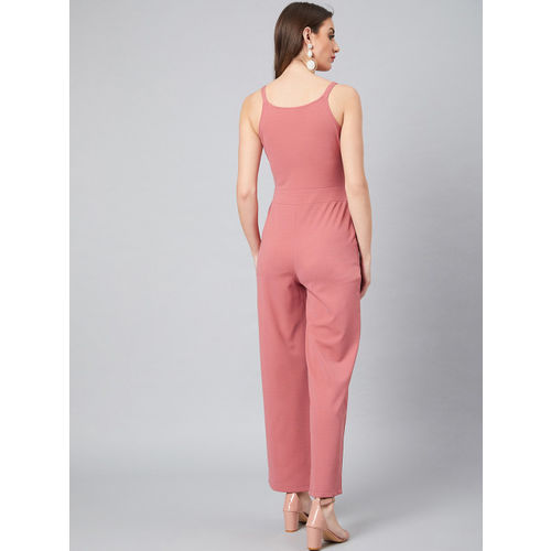 Athena Women Pink Solid Basic Jumpsuit