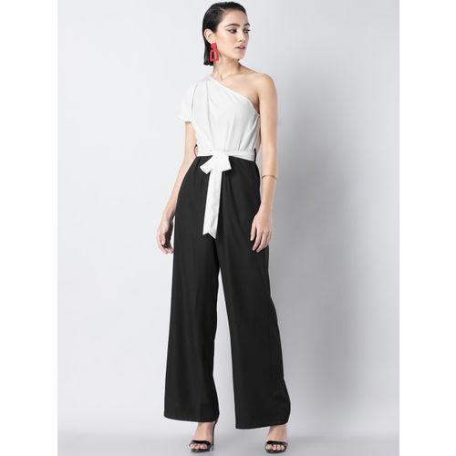 FabAlley Women White & Black Colourblocked Basic Jumpsuit