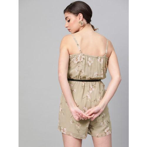 SASSAFRAS Women Olive Green & Off-White Printed Playsuit