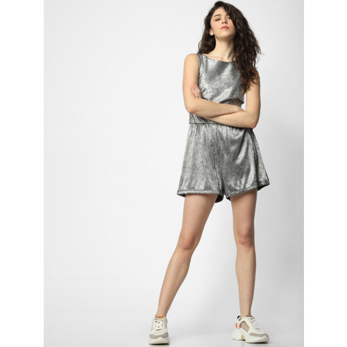 ONLY Women Silver-Toned Self Design Playsuit