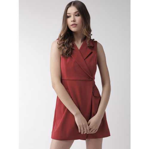 20Dresses Women Rust Red Solid Wrap Playsuit