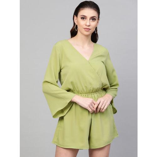 SASSAFRAS Women Green Solid Playsuit
