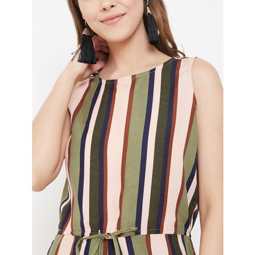 PURYS Women Olive Green & Pink Striped Playsuit