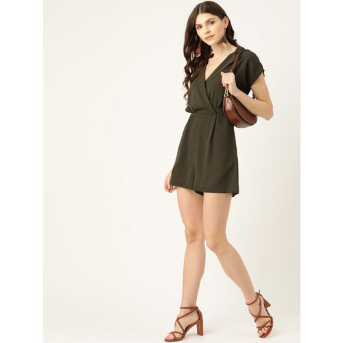 20Dresses Women Olive Green Solid Wrap Playsuit
