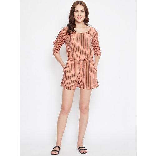 PURYS Women Rust Brown & Black Striped Playsuit