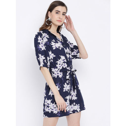 Oxolloxo Women Blue Printed Playsuit