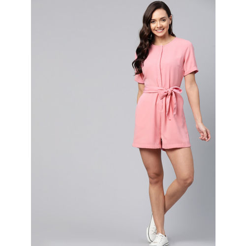 Mast & Harbour Women Pink Solid Playsuit