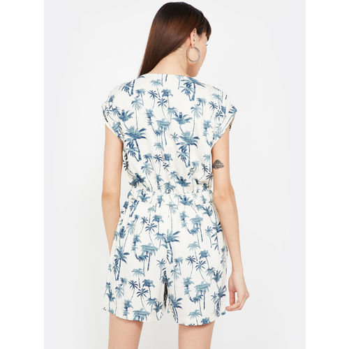 Fame Forever by Lifestyle Women Beige & Blue Printed Playsuit