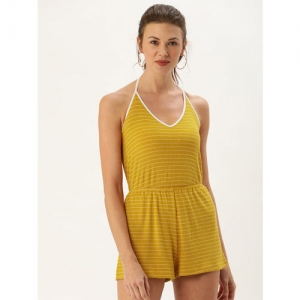 FOREVER 21 Women Mustard Yellow & White Striped Playsuit With Gathers