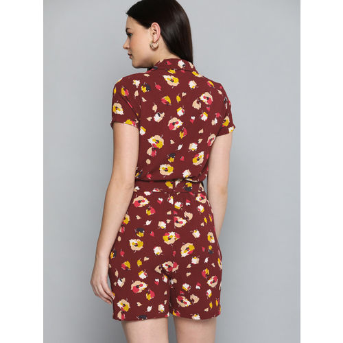 Chemistry Women Maroon & Mustard Yellow Printed Playsuit