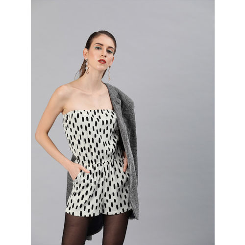 Sera White & Black Tiger Print Off-Shoulder Playsuit