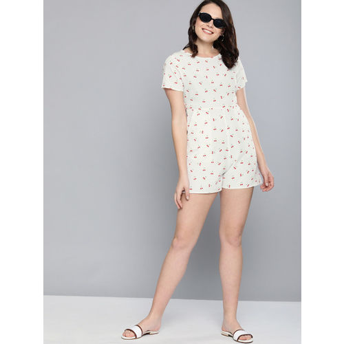 Mast & Harbour Women White & Red Printed Playsuit