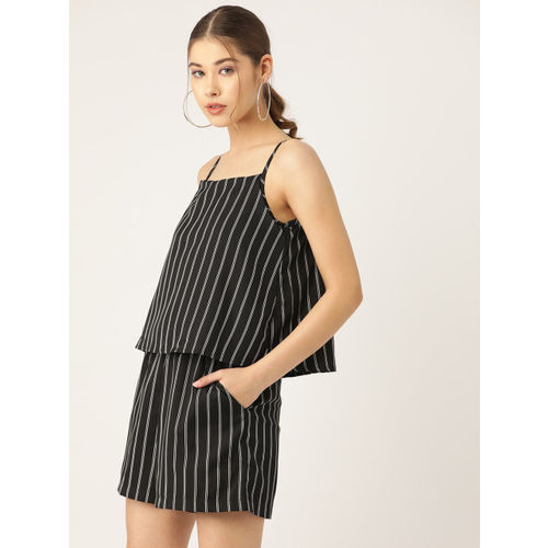 Trend Arrest Women Black & White Striped Playsuit