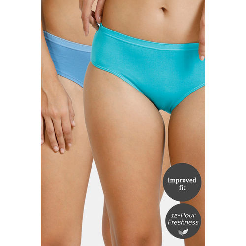Zivame Anti-Microbial Low Rise Hipster Panty (Pack of 2 ) - Pacific Ceramic