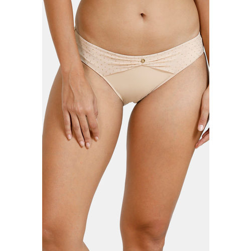 Zivame Ornate Glitz Low Rise Bikini Panty With Mesh Detail - Cuban Sand