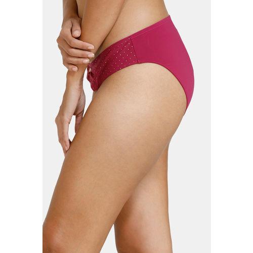 Zivame Ornate Glitz Low Rise Bikini Panty With Mesh Detail - Wine