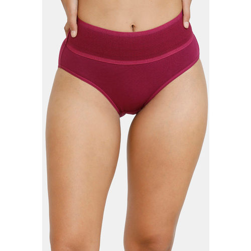 Zivame (Pack of 2) Tummy Tucker Hipster High Rise Anti-Microbial Panty - Purple Red