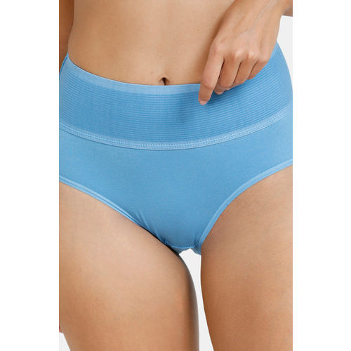 Zivame (Pack of 2) Tummy Tucker Hipster High Rise Anti-Microbial Panty - Blue Pacific