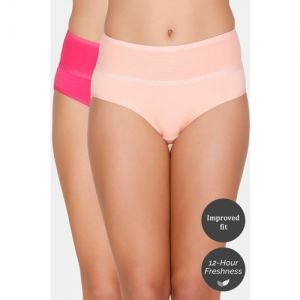 Zivame (Pack of 2) Tummy Tucker Hipster High Rise Anti-Microbial Panty - Pink Peach
