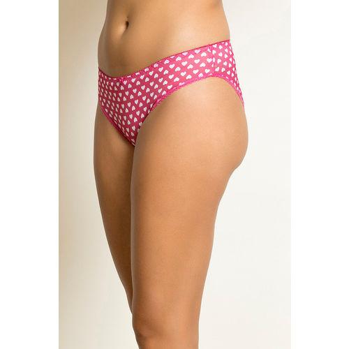 Zivame Heart Print Bikini Panty- Fuschia
