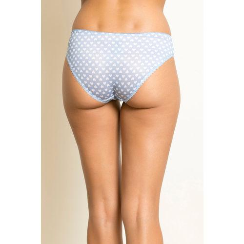 Zivame Heart Print Bikini Panty- Blue