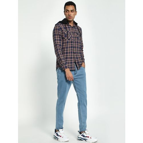 Blue Saint Plaid Check Hooded Shirt