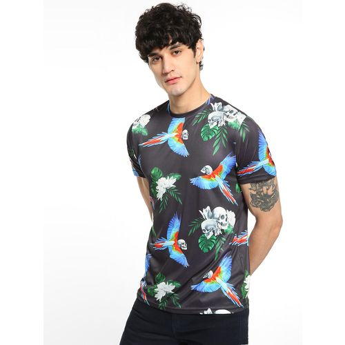 Brave Soul Skull Tropical Print T-Shirt