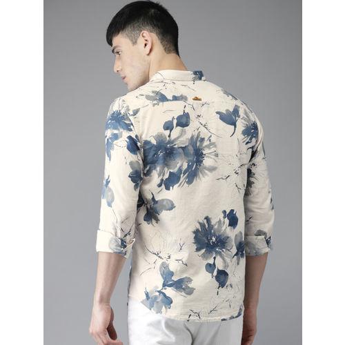 Bene Kleed Men Off-White & Blue Slim Fit Printed Casual Shirt