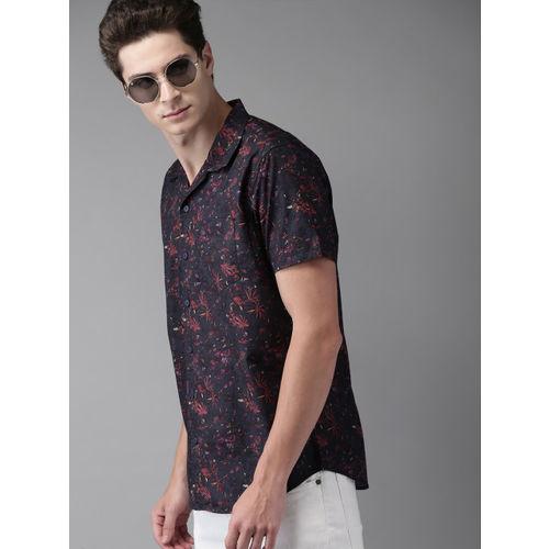 Moda Rapido Men Navy Blue Slim Fit Printed Casual Shirt