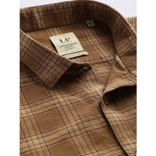 Louis Philippe Sport Men Brown & Beige Super Slim Fit Checked Casual Shirt