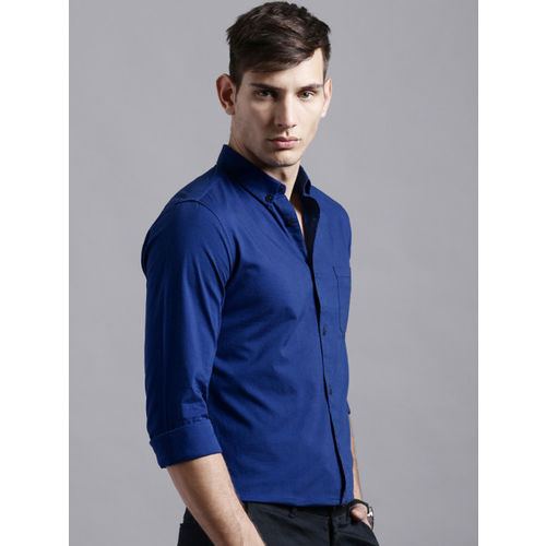 ether Men Blue Regular Fit Anti-Microbial Oxford Casual Shirt
