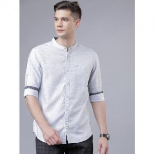 LOCOMOTIVE Men Grey Slim Fit Solid Casual Shirt