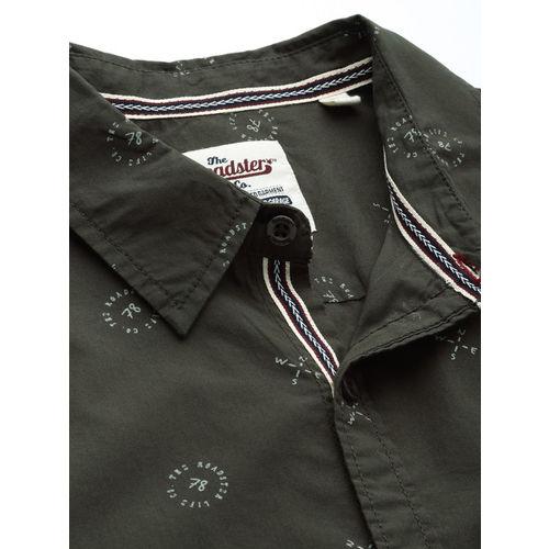 Roadster Men Olive Green & White Regular Fit Printed Casual Shirt