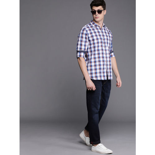 WROGN Men White & Blue Slim Fit Checked Casual Shirt