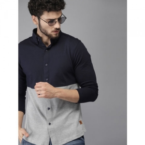 Campus Sutra Men Navy Blue & Grey Standard Fit Colourblocked Casual Shirt