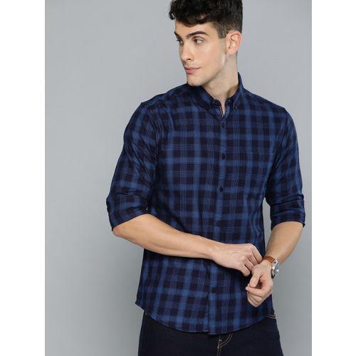 Harvard Men Navy Blue Regular Fit Indigo Checked Casual Shirt