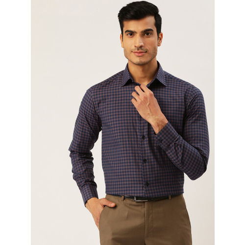 Richlook Men Navy Blue & Brown Regular Fit Checked Formal Shirt