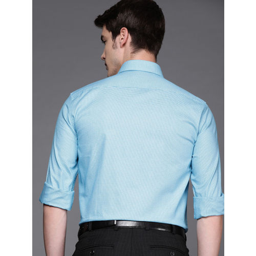 Louis Philippe Men Blue & White Classic Fit Self Design Formal Shirt