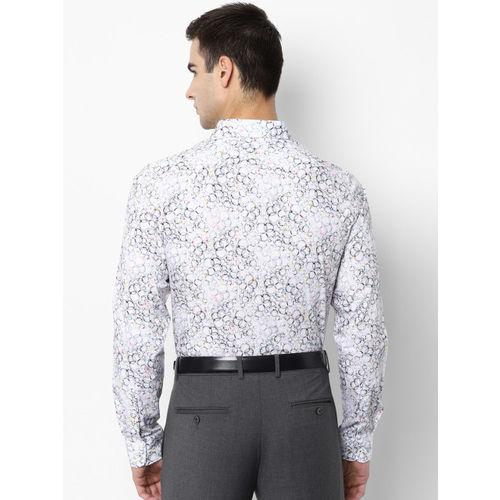 SIMON CARTER LONDON Men White & Black Regular Fit Printed Formal Shirt