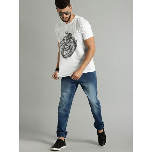 Roadster Men White Printed Round Neck T-shirt