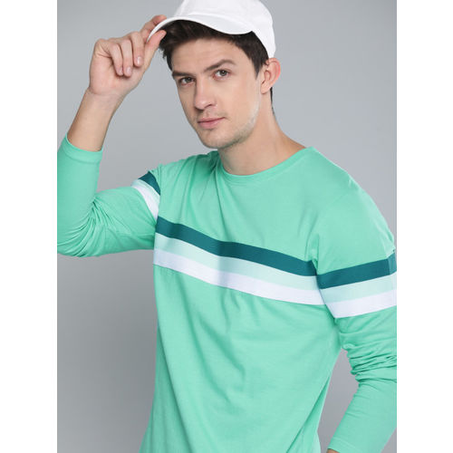 Difference of Opinion Men Sea Green Solid Round Neck T-shirt
