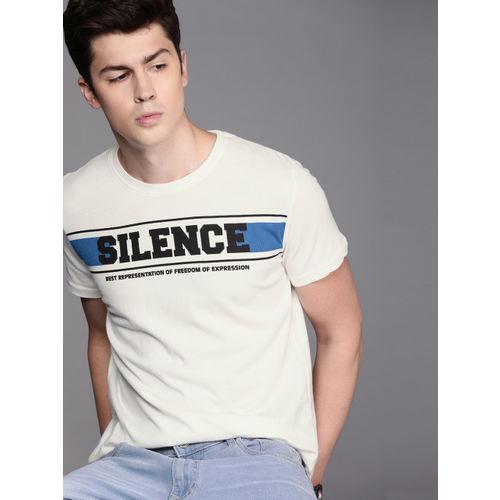 WROGN Men White Printed Slim Fit Round Neck T-shirt