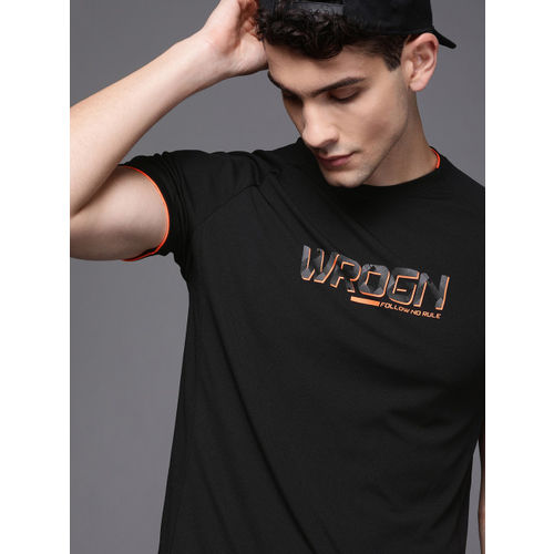 WROGN ACTIVE Men Black Printed Round Neck T-shirt
