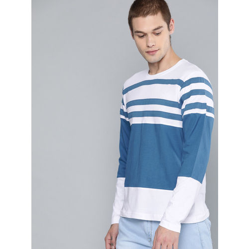 HERE&NOW Men White & Blue Striped Round Neck T-shirt
