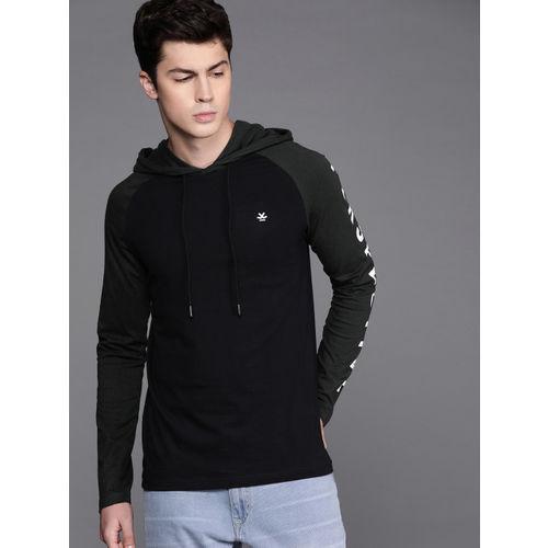 WROGN Men Black Solid Slim Fit Hood T-shirt With Printed Detail