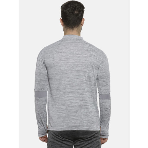 Campus Sutra Men Grey Solid Mandarin Collar T-shirt