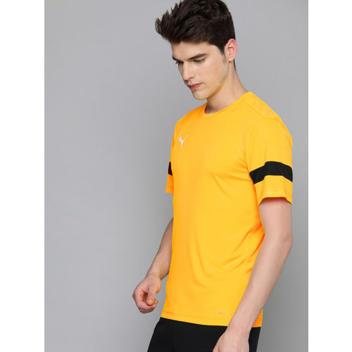 Puma Men Yellow DryCELL Solid Round Neck Training T-shirt