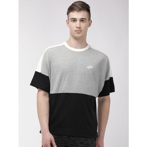 Nike Men Black & Grey Colourblocked Standard Fit Round Neck AS M NSW SS JSY T-shirt