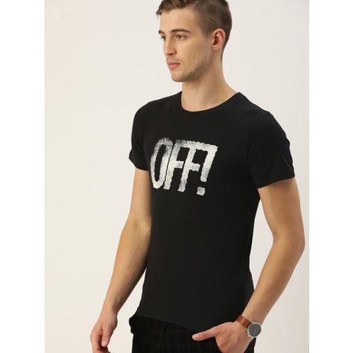 SINGLE Men Black Printed Slim Fit Round Neck T-shirt